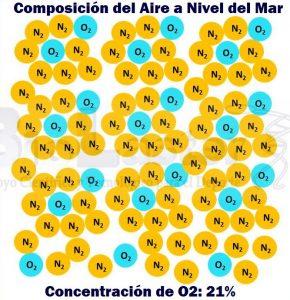 Composición del Aire a Nivel del Mar, con una Concentración de Oxígeno del 21%