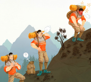 Imagen relativa al texto mal agudo de montaña, dibujo de unos hombres subiendo a la montaña fatigados